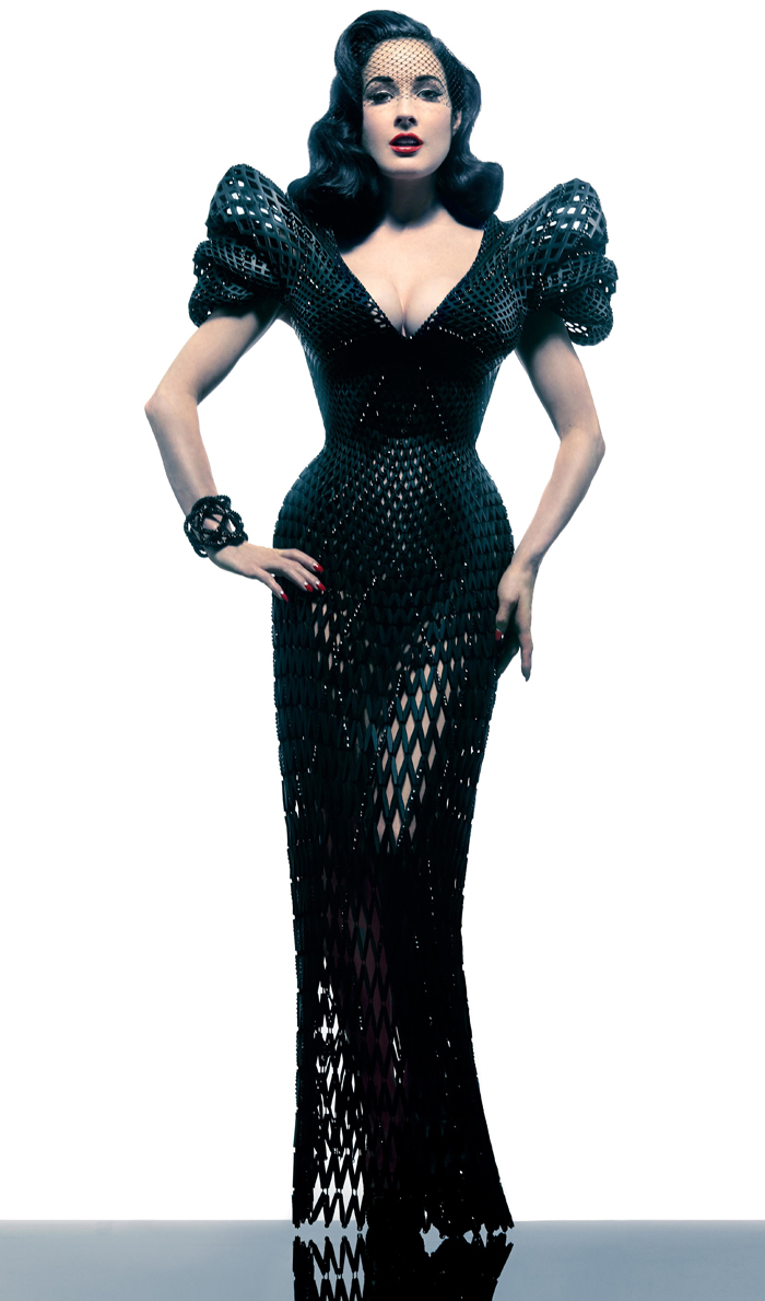 Dita Von Teese in a 3D printed dress crafted by designer Michael Schmidt and architect Franics Bitonti in March 2013