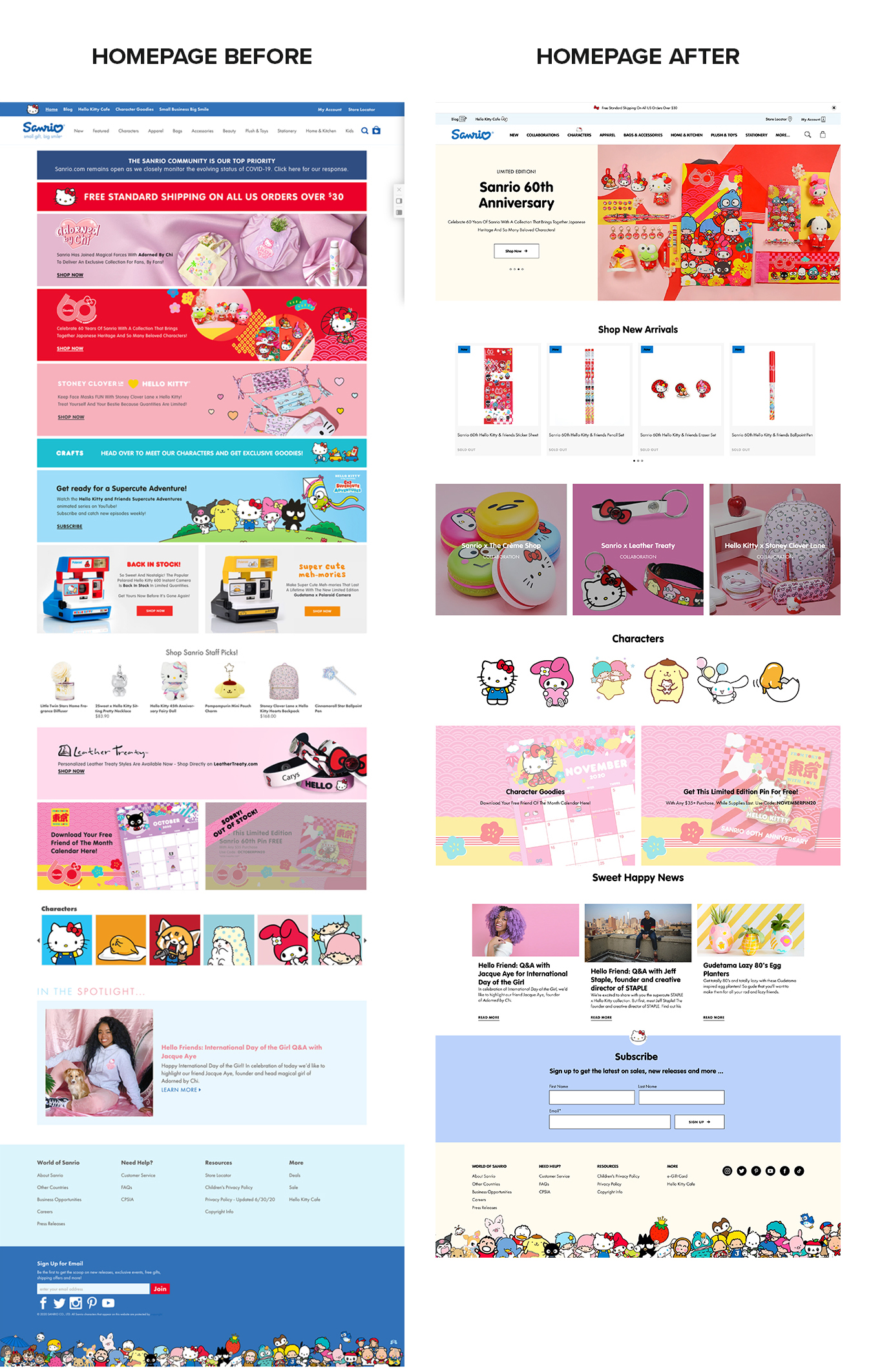 A before and after desktop screen of the Sanrio site homepage