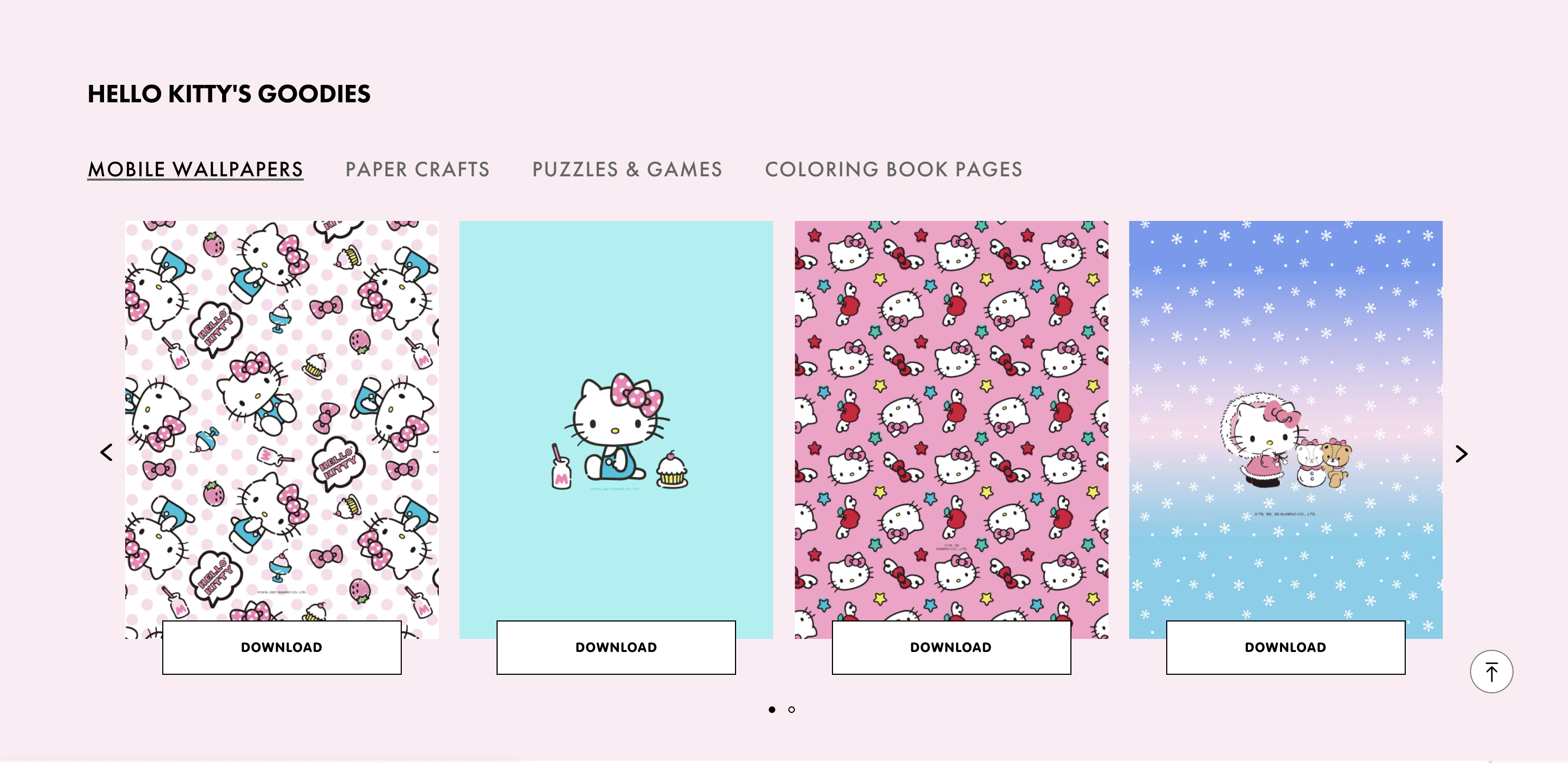 Hello Kitty goodies content block with wallpapers and crafts