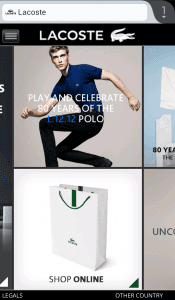 Lacoste mobile commerce site screenshot