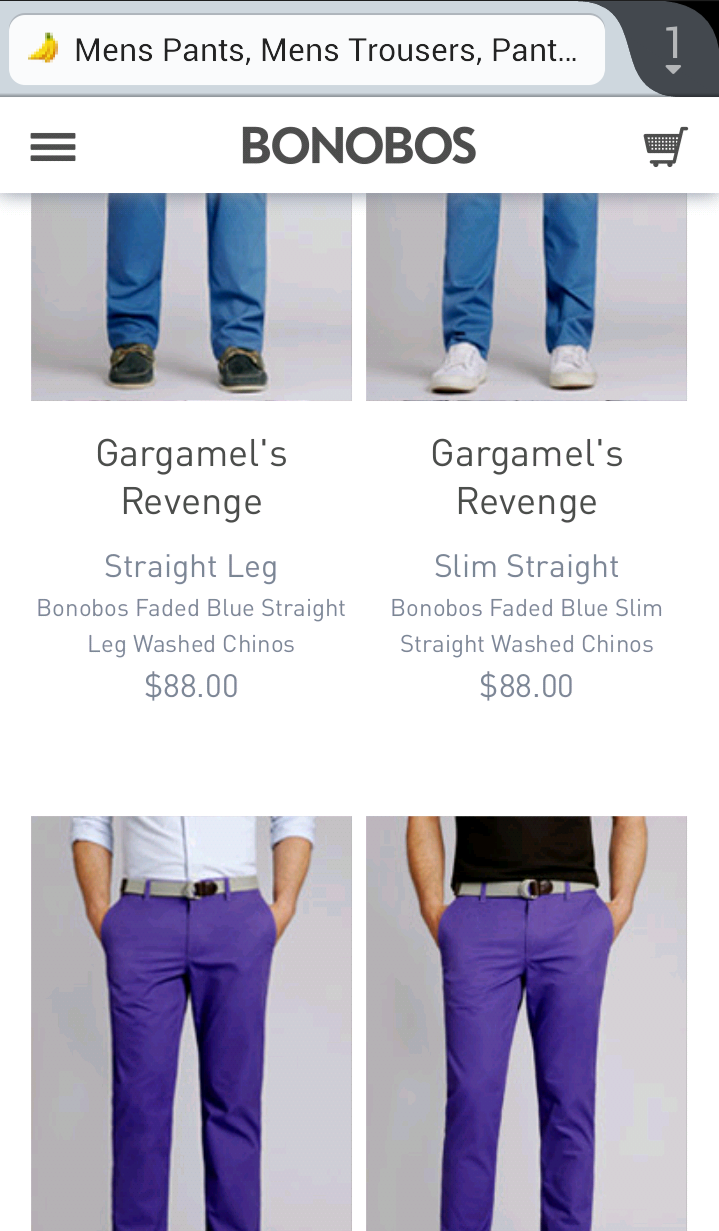 Bonobos mobile commerce site screenshot