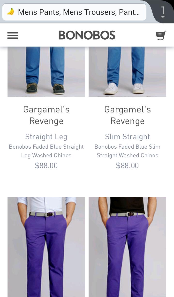 Bonobos mobile commerce site screenshot