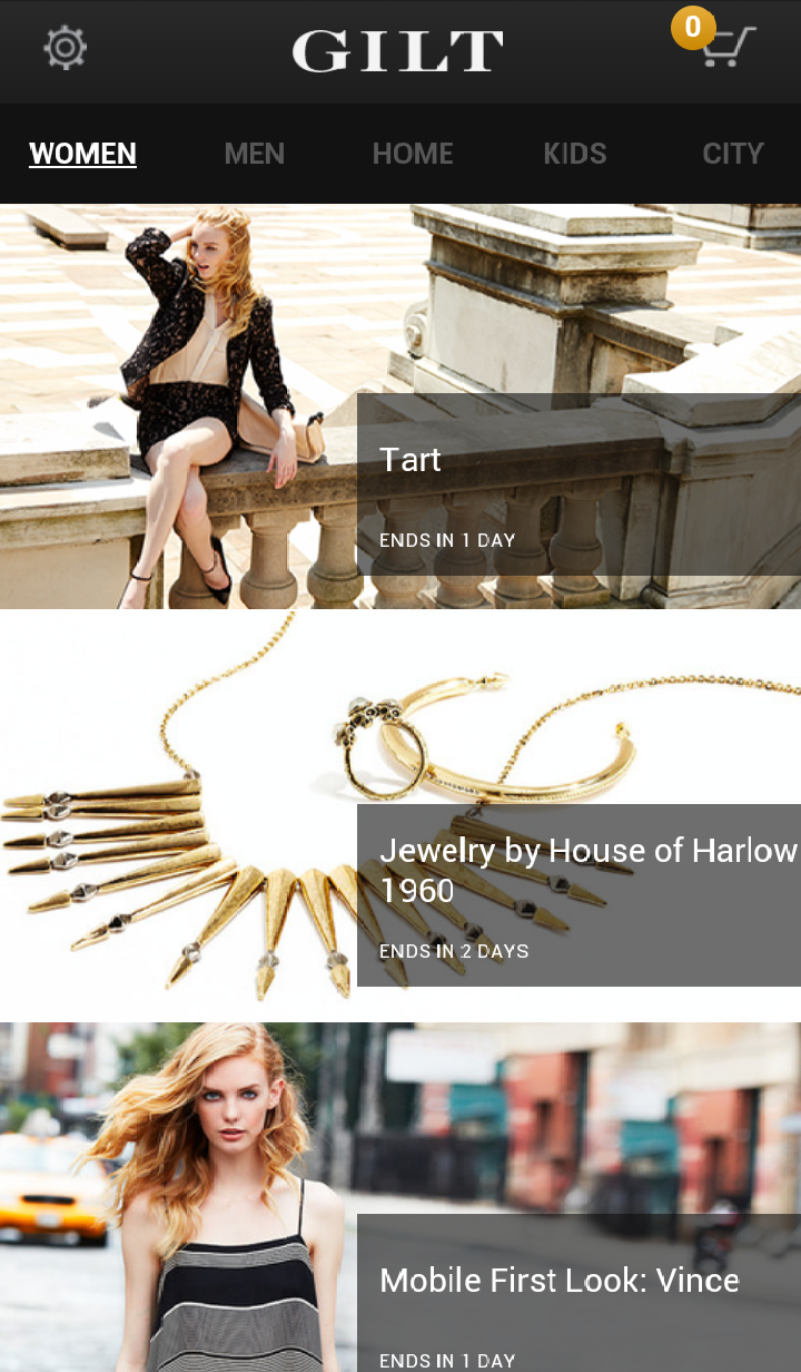 Gilt mobile commerce site screenshot