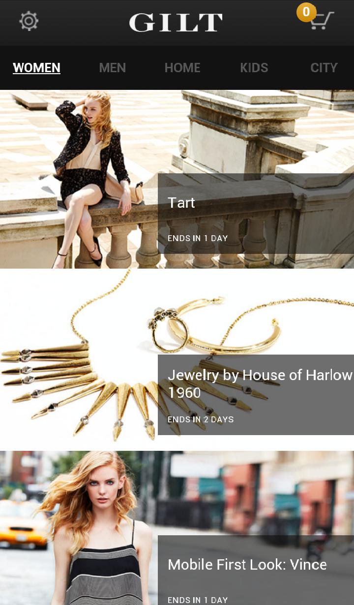 Gilt mobile commerce site screenshot