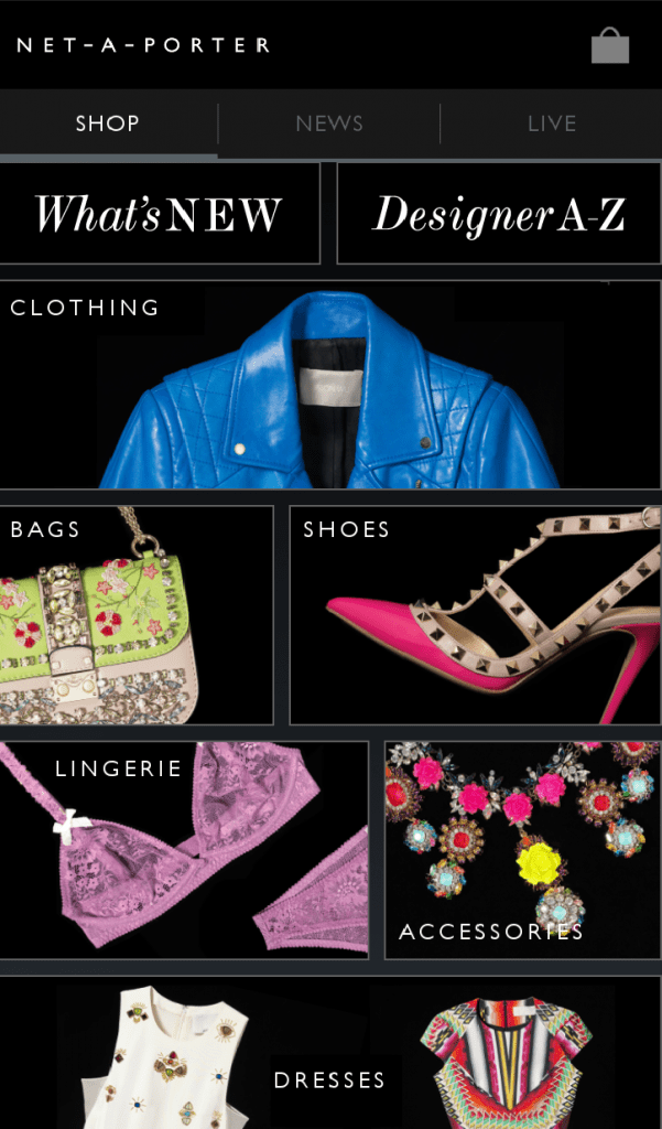 Net-A-Porter mobile commerce site screenshot