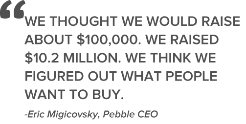 Pebble CEO crowdfunding quote