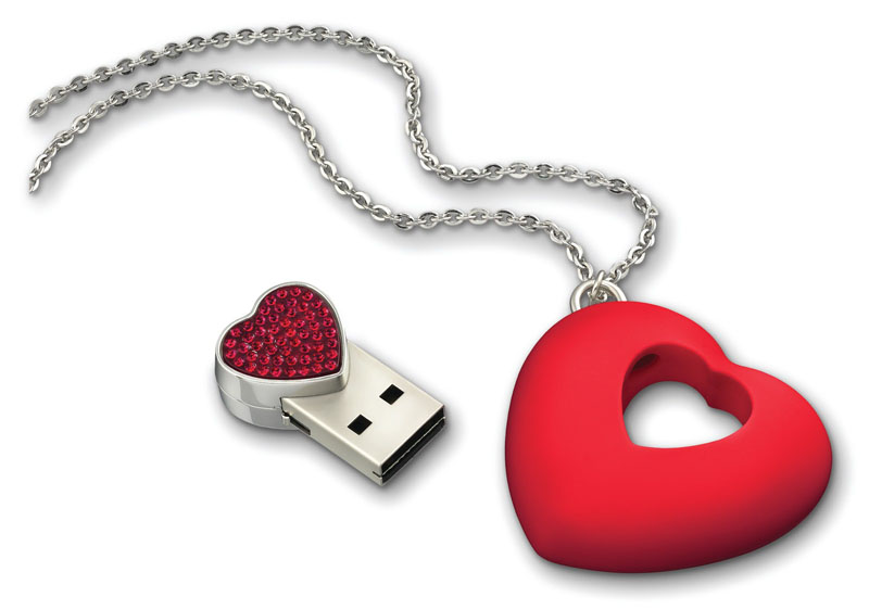 Swarovski Crystal Heart USB Necklace