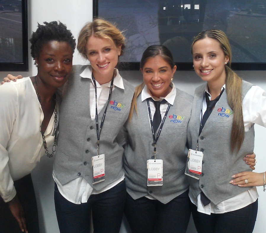 Corra Marketing Manager, Abena Gyebi, with Representatives of eBay Now, Lincoln Center, New York Fashion Week